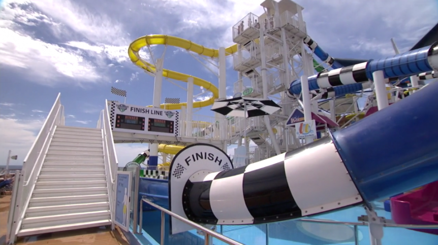 carnival water works at sea